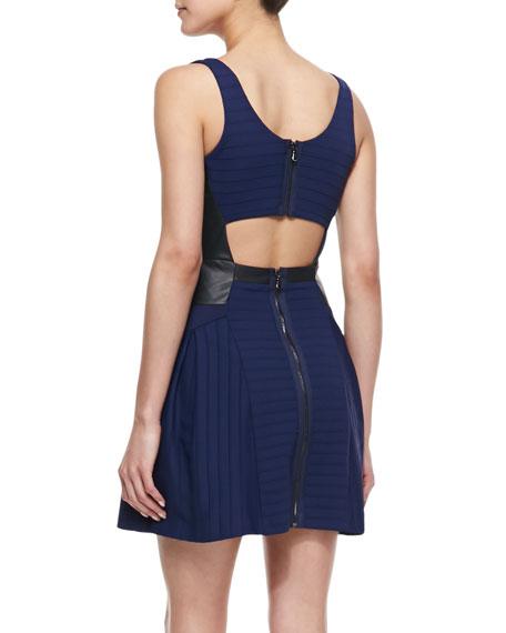 Sleeveless Leather Panel Full-Skirt Dress