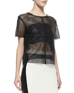LaPina by David Helwani Short-Sleeve Laser-Cut Leather Top