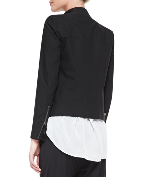 Tie-Neck Front-Zip Jacket