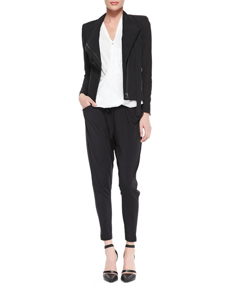 Draped Jersey Tie-Waist Pants