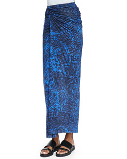 Helmut Lang Resid Printed Fitted Wrap Skirt