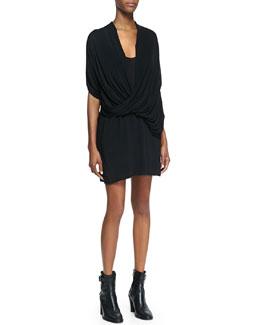 Helmut Lang Draped Jersey Overlap Dress