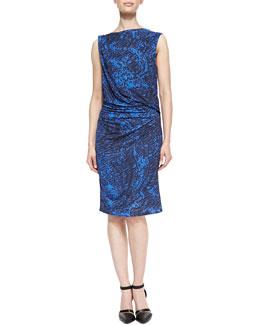 Helmut Lang Resid Printed Gathered Jersey Dress