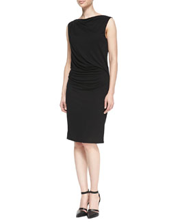 Helmut Lang Scala Gathered Jersey Dress
