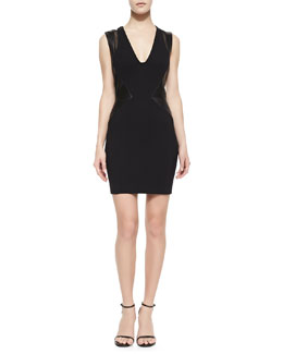 LaPina by David Helwani Sleeveless Leather-Side Sheath Dress