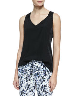 Nanette Lepore Bebita Sateen Sleeveless Top