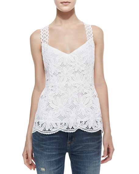 Conga Sleeveless Floral-Eyelet Top