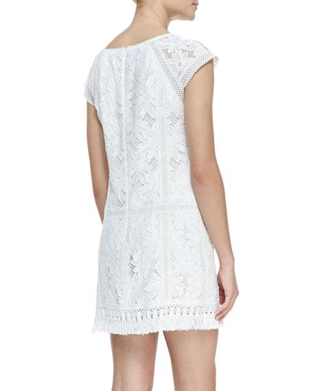 Island Rhythm Embroidered Fringe-Hem Dress