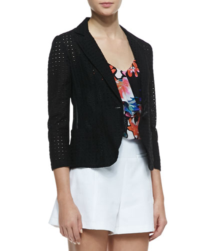 Nanette Lepore Carefree Perforated Twill Blazer
