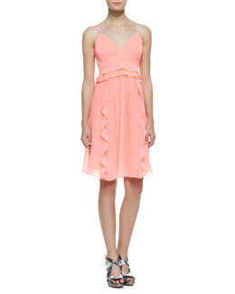 Nanette Lepore Merengue Silk Spaghetti Strap Dress, Punch Pink