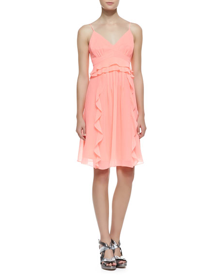 Nanette Lepore Merengue Silk Spaghetti Strap Dress, Punch