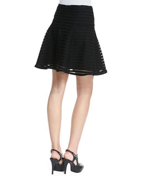 Paradise Sheer-Stripe Flounce Skirt
