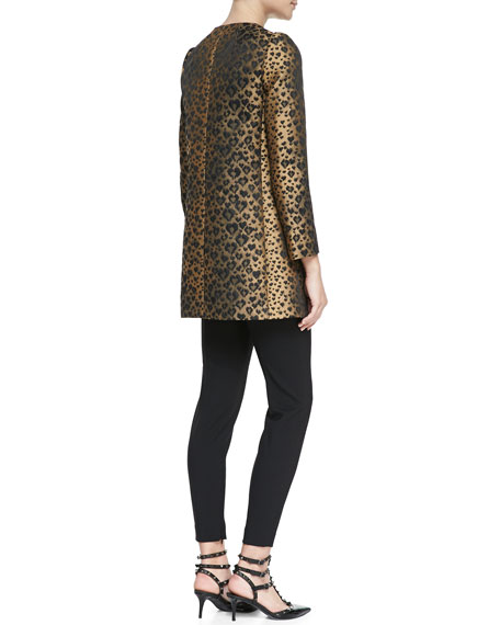 Bow-Neck Heart Leopard-Print Topper, Toffee/Black