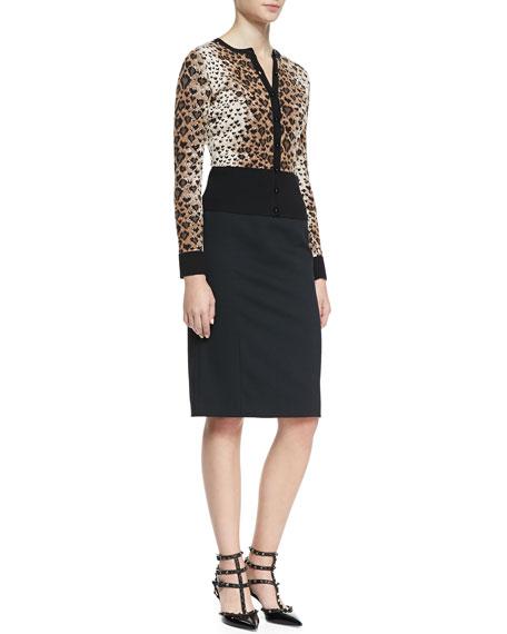 Cady Tech Pencil Skirt, Black