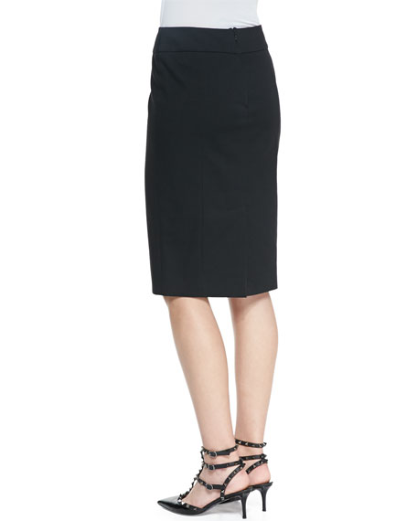 Cady Tech Pencil Skirt, Black