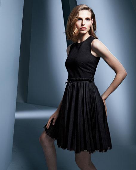 Sleeveless Accordion-Pleated Dress, Black