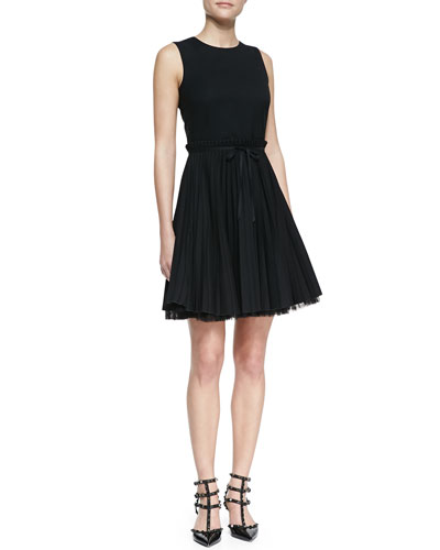 RED Valentino Sleeveless Accordion-Pleated Dress, Black