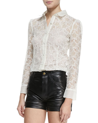 RED Valentino Long-Sleeve Star Embroidery Button-Down Blouse, White Smoke