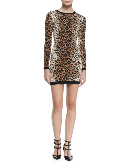 RED Valentino Long-Sleeve Heart Leopard-Print Sweaterdress,