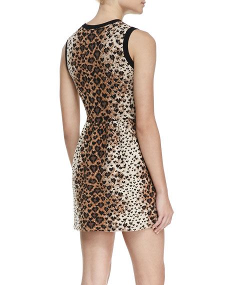 Sleeveless Heart-Leopard-Print Dress, Toffee/Black