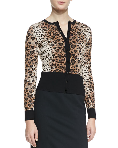 Long-Sleeve Heart Leopard-Patterned Cardigan, Toffee/Black