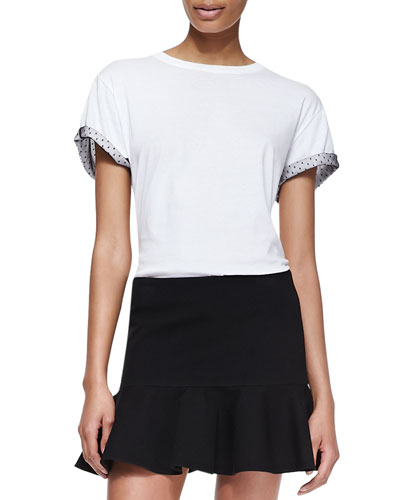 RED Valentino Cotton Jersey Tee with Point d'Esprit