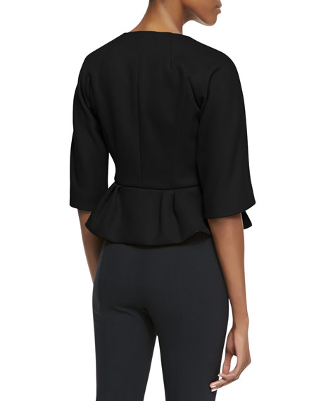 3/4-Sleeve Peplum Jacket with Bow