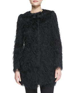 RED Valentino Fuzzy Coat with Faille Bow, Black