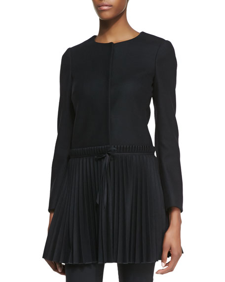 RED Valentino Wool Coat with Accordion-Pleated Hem, Black