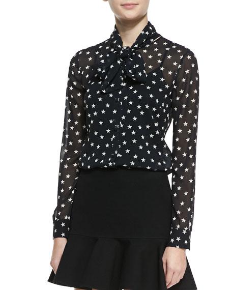 RED Valentino Star-Print Tie-Neck Blouse
