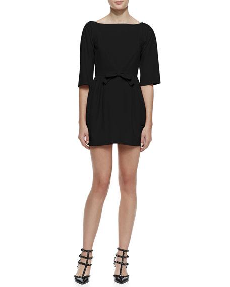 3/4-Sleeve Bow-Waist Dress with V'd Back, Black