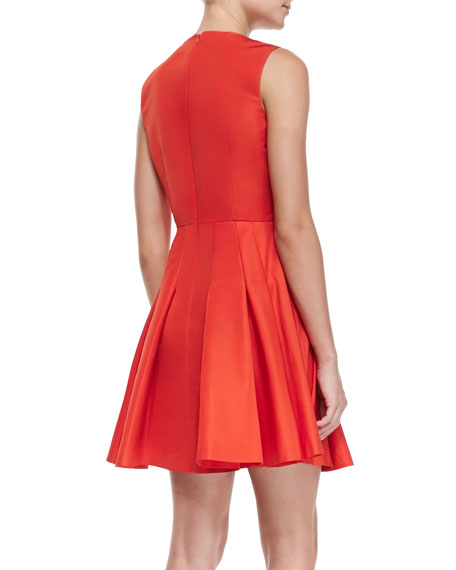 Sleeveless Dress with Pleated Skirt, Coral