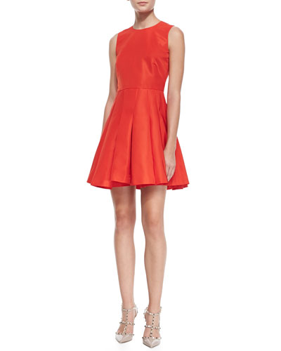 RED Valentino Sleeveless Dress with Pleated Skirt, Coral