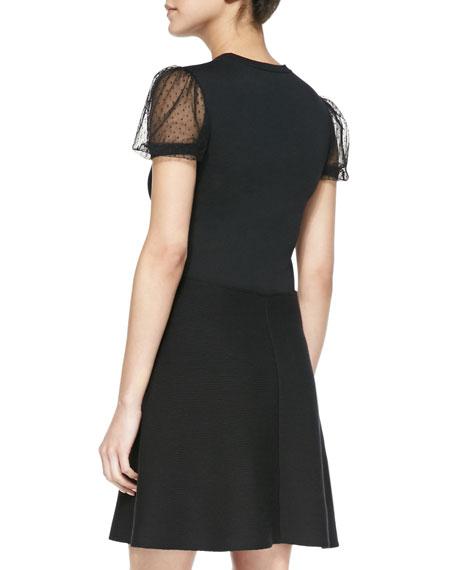Point d'Esprit Yoked Short Knit Dress, Black