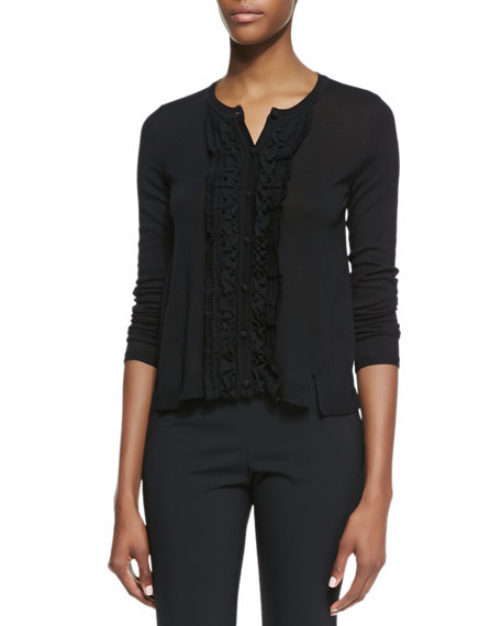 Long-Sleeve Tuxedo Ruffle-Front Wool Cardigan