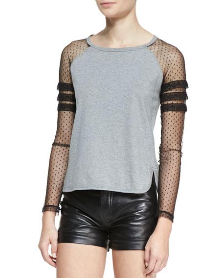 Long-Sleeve Mixed Media Baseball T-Shirt, Gray/Black