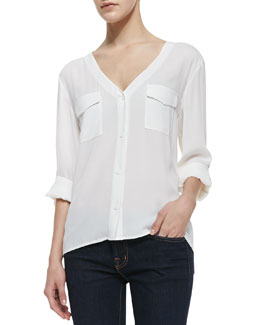 Alice + Olivia Donnie V-Neck Stretch-Silk Blouse
