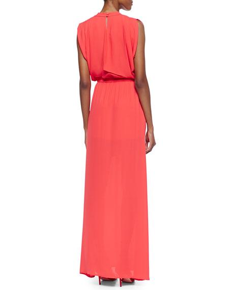 Plunge-Neck Tie Waist Gown, Bright Poppy