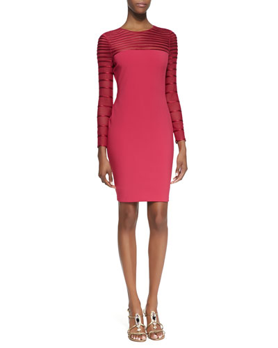Halston Heritage Ponte Stripe-Mesh-Insert Long-Sleeve Dress