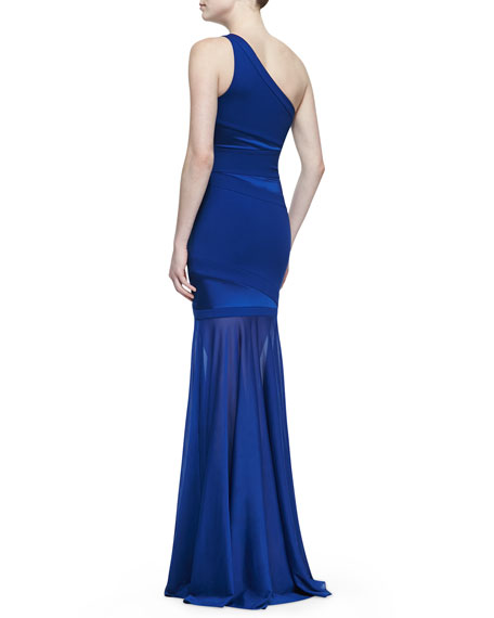 One-Shoulder Gown with Semisheer Skirt, Bright Indigo