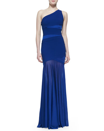 Halston Heritage One-Shoulder Gown with Semisheer Skirt, Bright Indigo