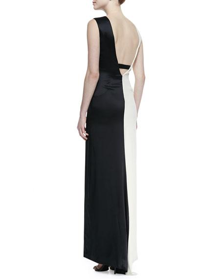 Two-Tone Sleeveless Asymmetric Gown