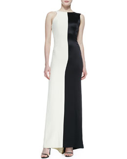 Halston Heritage Two-Tone Sleeveless Asymmetric Gown