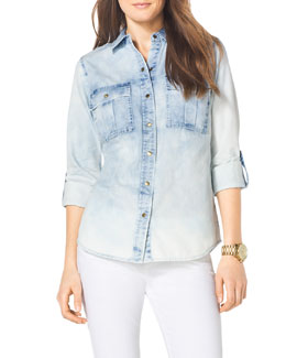 MICHAEL Michael Kors  Faded Chambray Military Shirt