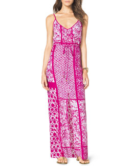 MICHAEL Michael Kors  Printed Drawstring Maxi Dress