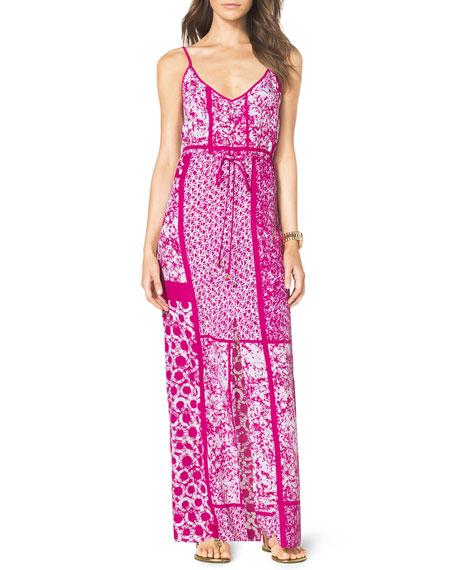 Printed Drawstring Maxi Dress