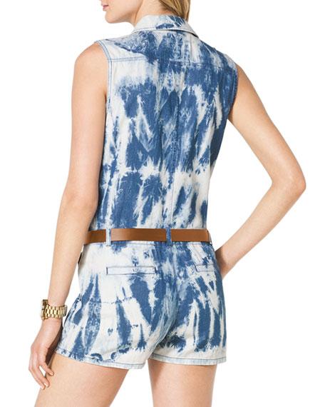 301abb17b4e5 MICHAEL Michael Kors Tie-Dye Belted Denim Jumpsuit