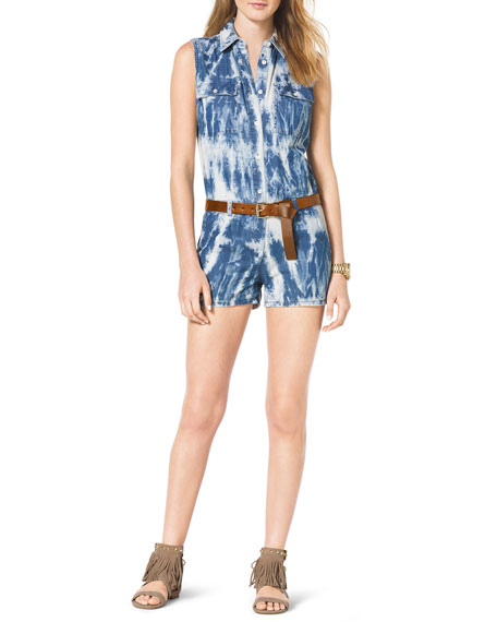 Tie-Dye Belted Denim Jumpsuit