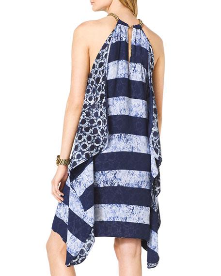 Mix-Print Chain-Neck Dress