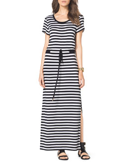 MICHAEL Michael Kors  Striped Drawstring Maxi Dress
